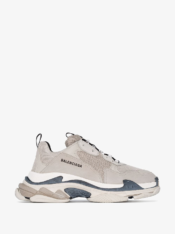 Balenciaga Low-Top Sneakers Triple S Mesh Nubuck Logo Beige Grey In Neutrals