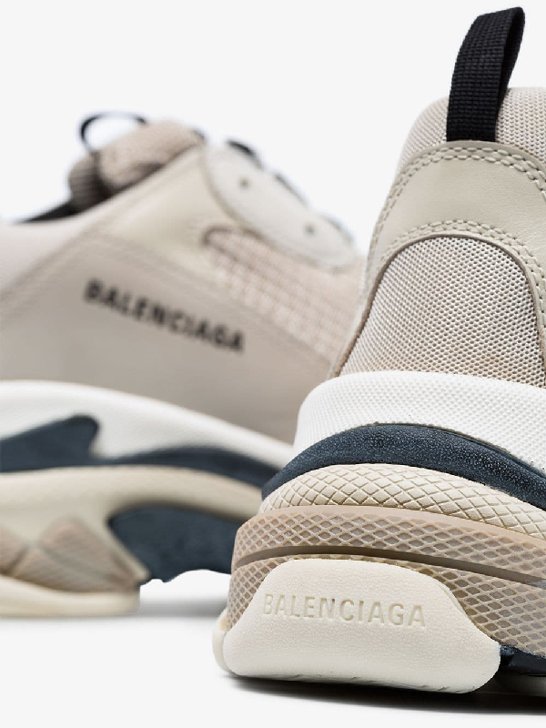 Balenciaga Low-Top Sneakers Triple S Mesh Nubuck Logo Beige Grey In 9787 Beige / Black
