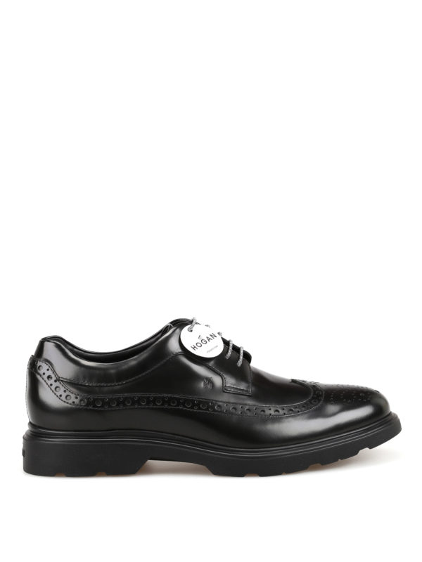 Hogan Derby In Brushed Leather With Memory Sole And Brogue Motif ...