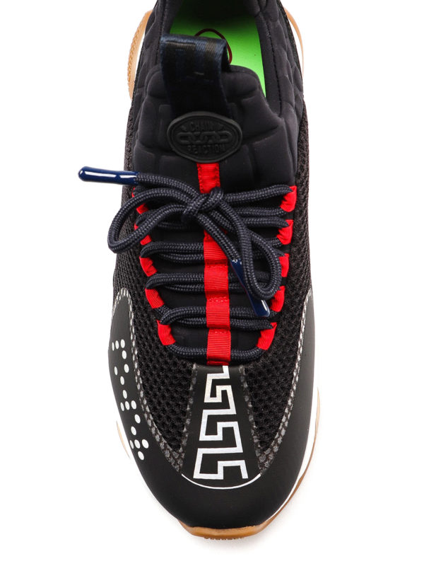 Versace 50 Chain Reaction Black And Navy Mesh Trainers