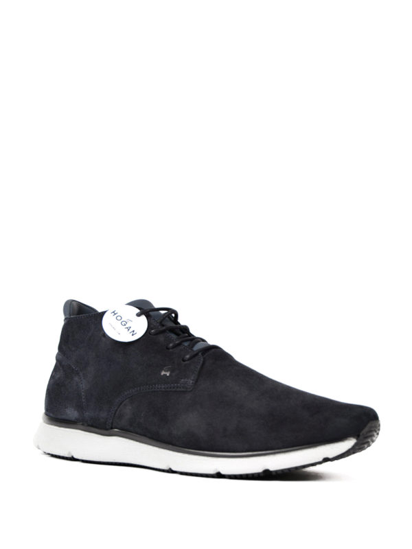 Hogan T20.15 New Urban Style Mid Lace-ups In Blu Suede In Blue ...