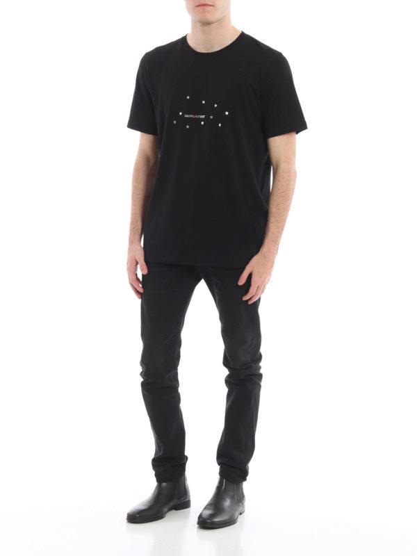 Saint Laurent Men's Stars Logo Short-Sleeve Cotton T-Shirt, Black