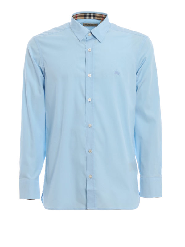 Burberry Men's Long Sleeve Shirt Dress Shirt Cambridge In Blue