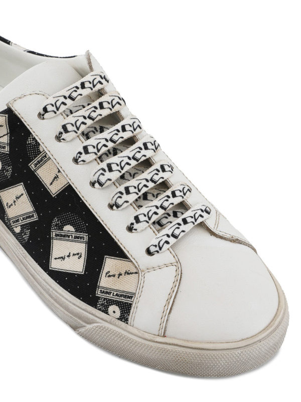 Saint Laurent Leather And Printed Canvas Sneakers In Black