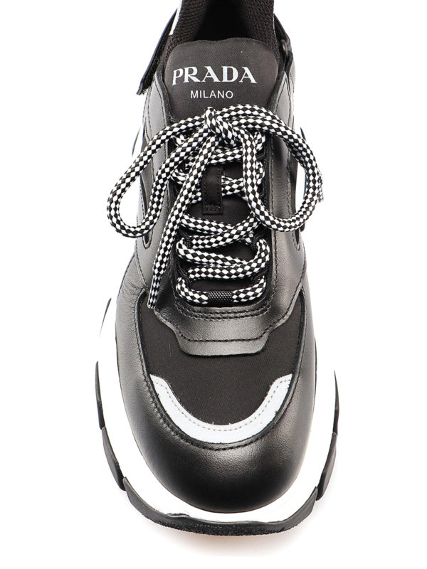 Prada Leather And Fabric Sneakers With Maxi Sole In Black
