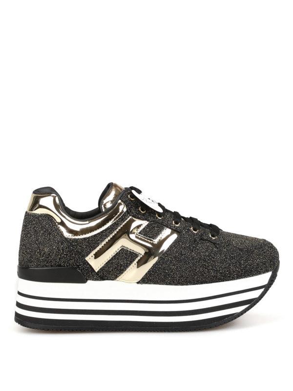 Hogan Maxi H222 Glitter Sneakers In Black   ModeSens