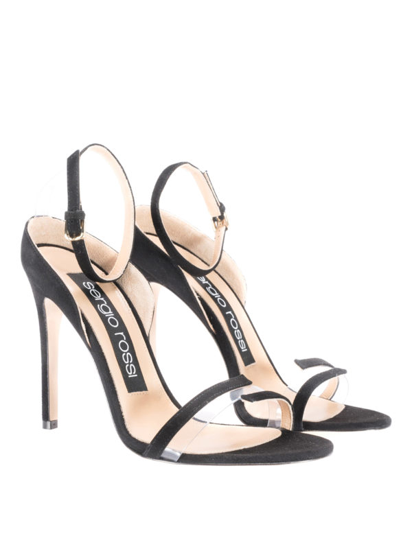 SERGIO ROSSI KAREN BLACK SUEDE SLEEK SANDALS