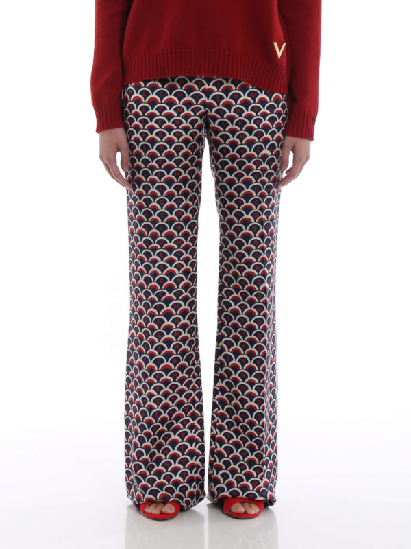 Valentino Logo-Print Silk Wide-Leg Trousers In Blue