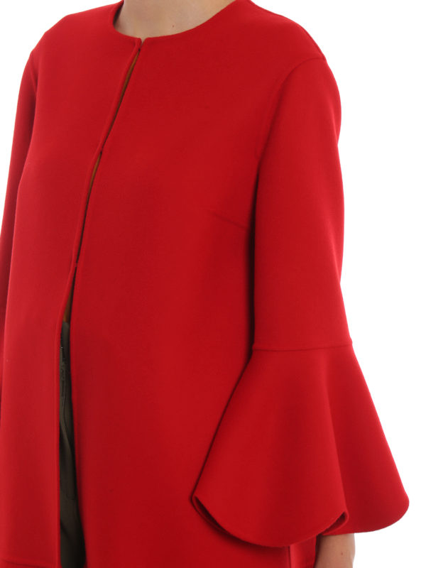 VALENTINO COMPACT WOOL AND CASHMERE SCALLOPED COAT