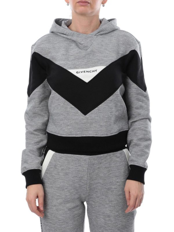 Givenchy Logo Embroidery Chevron Hoodie In Grey & Black
