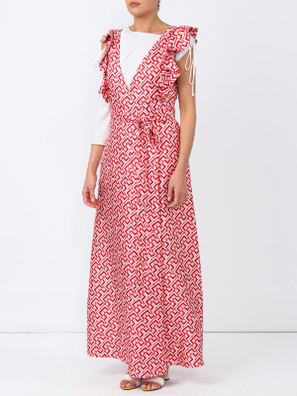 Wedding Guest Domino Print Cotton Dress Red