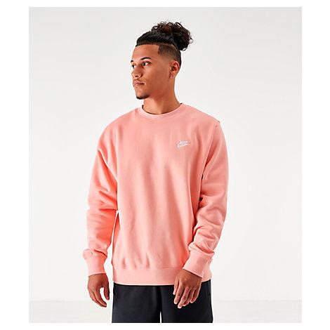 provocar grado Inseguro  Nike Men's Sportswear Club Fleece Crewneck Sweatshirt In Pink | ModeSens