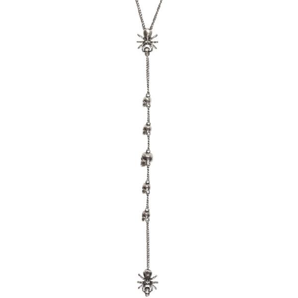 Alexander Mcqueen Gunmetal Spider And Skull Necklace In 0446 Silvan