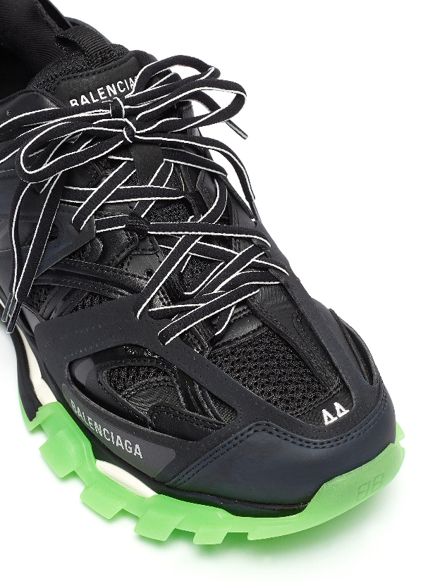 Balenciaga Track Glow Nylon, Mesh And Rubber Sneakers In 1003 Black Glow