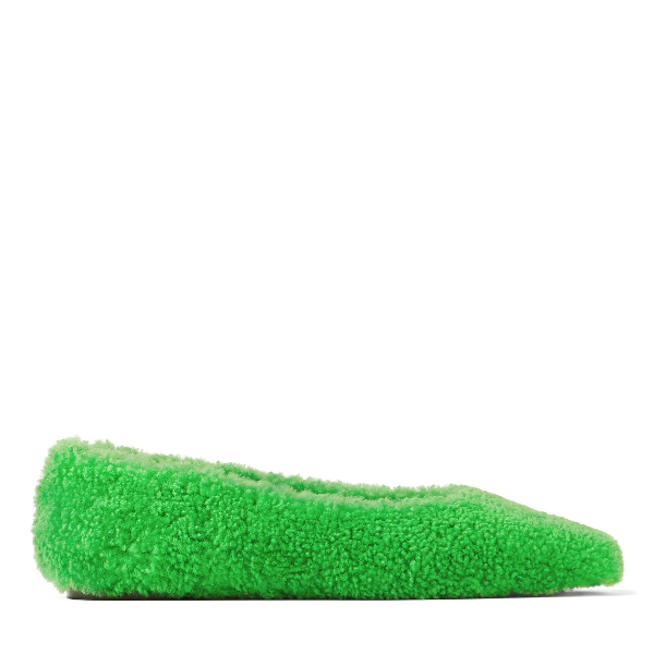 Merlin Flat Flache Eckige Ballerinas Aus Grünem Shearling in Green