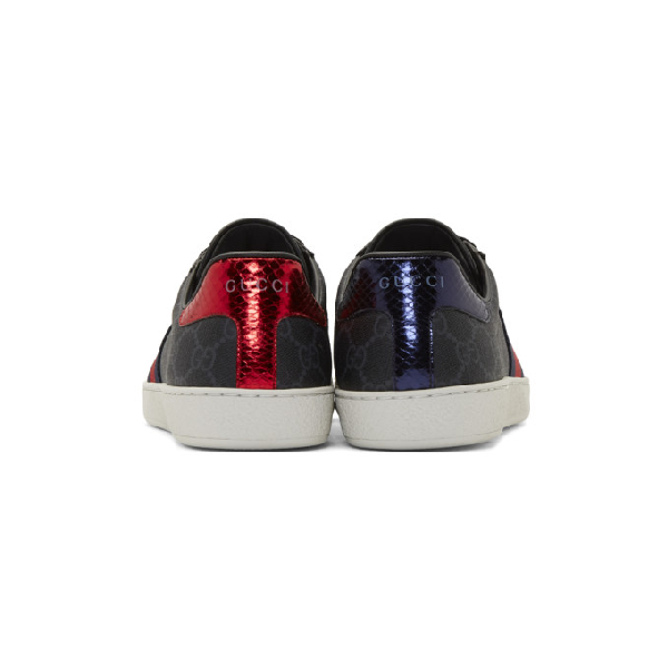 Gucci New Ace Webbed Low Top Sneaker In Black