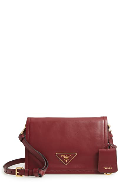 PRADA SMALL GLACE CALFSKIN LEATHER CROSSBODY BAG - RED,1BD082 PEOV OOW01