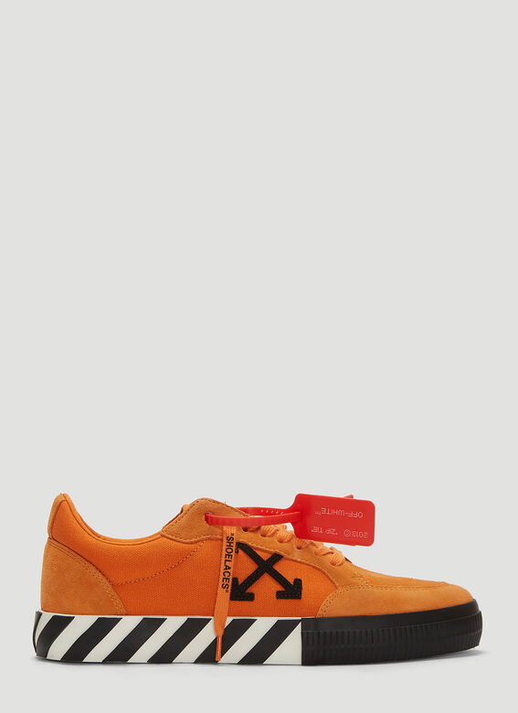 Off-White Men's Arrow Suede Sneakers With Stripes In Orange
