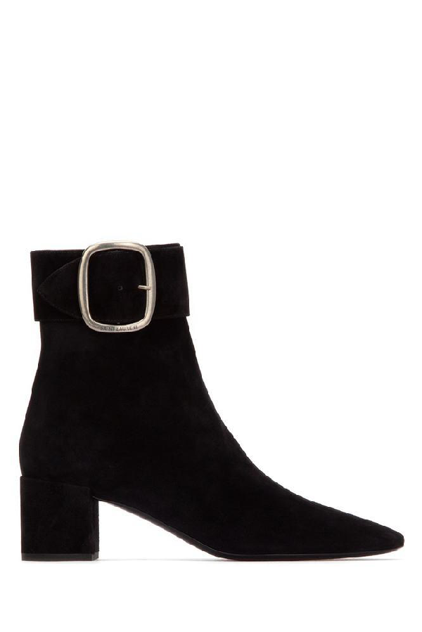 afd694b28cb Saint Laurent 50Mm Joplin Buckled Suede Ankle Boots In Black | ModeSens