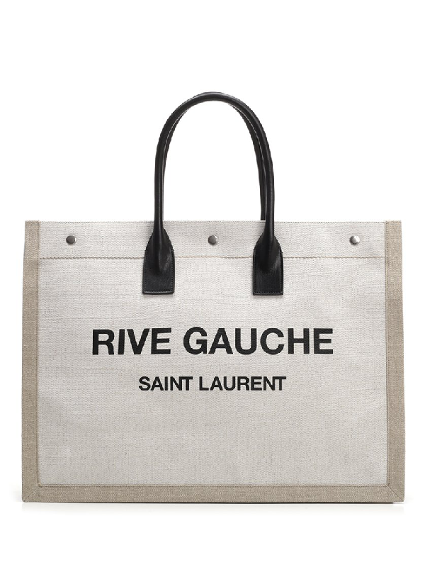 2f47fed8117 Saint Laurent White And Black Rive Gauche Linen And Leather Logo Tote In  9280 Natural