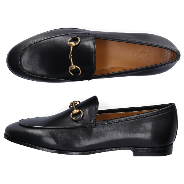 Gucci Loafers Jordaan Smooth Leather Horsebit-Detail Black In 1000 Nero