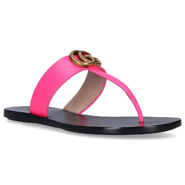 Gucci Women's Marmont Leather Thong Sandals In Pink