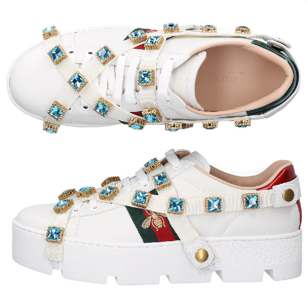 Gucci Low-Top Sneakers New Ace Sneaker  Calfskin Gem Logo White
