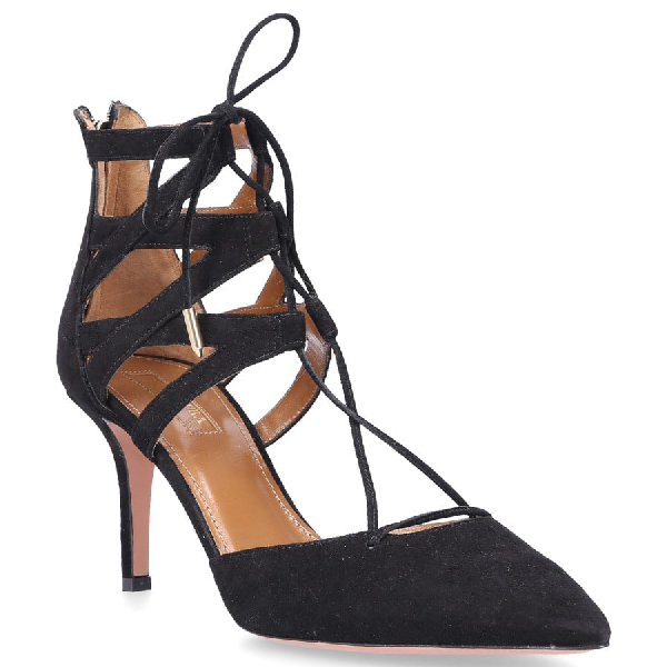 AQUAZZURA LACE UP PUMPS BELGRAVIA SUEDE BLACK