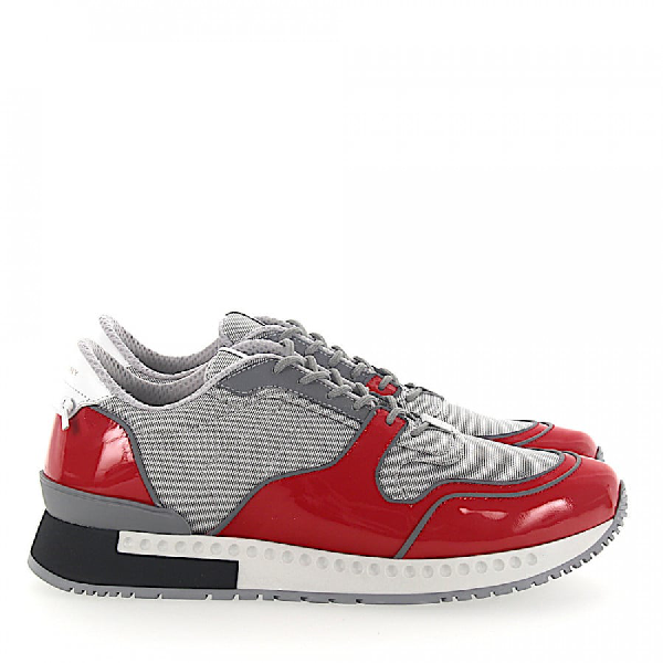 Givenchy Low-Top Sneakers Mesh Patent Leather Logo Grey Red In Grey,Red