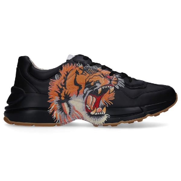 Gucci Rhyton Leather Sneaker With Tiger In 1000 Nero