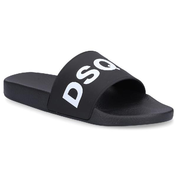 Dsquared2 Badesandalen Dune  Gummi Logo Schwarz In Black
