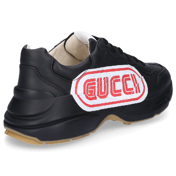 Gucci Low-Top Sneakers Rhyton  Smooth Leather Logo Black