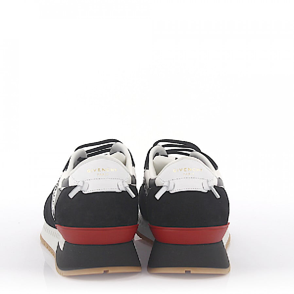 Givenchy Sneaker Runner Active Leather Suede Black White Checkmate-Print