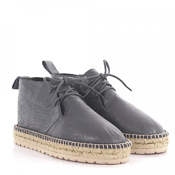 Balenciaga Boots Arena Leather Grey Crinkled Bast