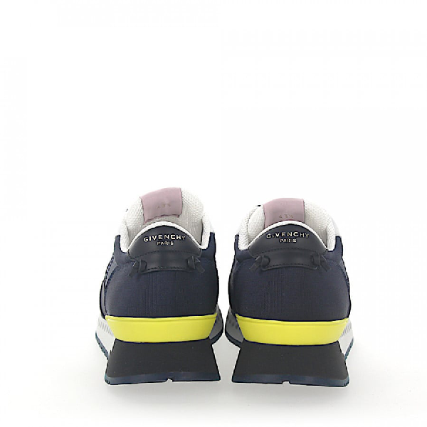 Givenchy Low-Top Sneakers Calfskin Mesh Synthetic Textile Logo Black Blue White Yellow