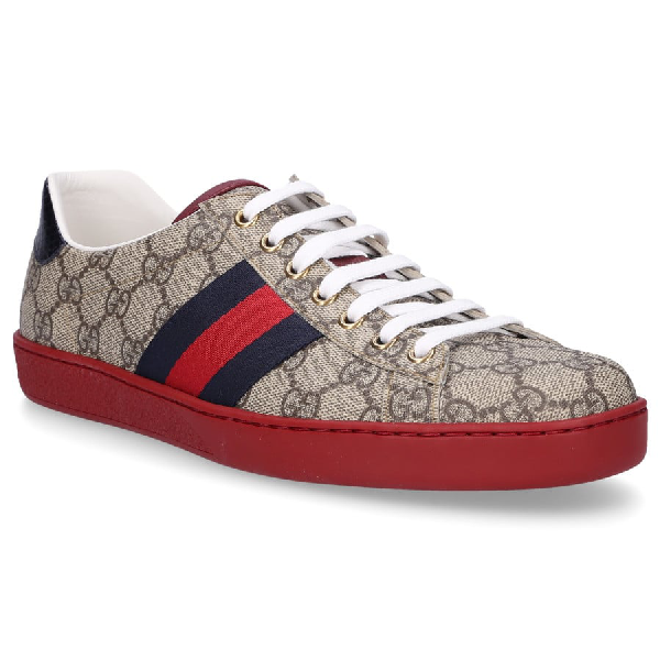 Gucci Men's Shoes Trainers Sneakers  Gg Supreme Ace In 9767 Beige