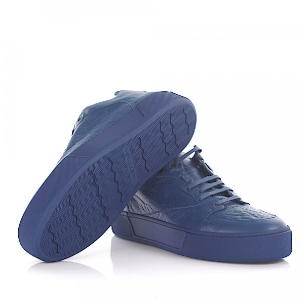 BALENCIAGA SNEAKERS ARENA LOW LEATHER BLUE CRINKLED