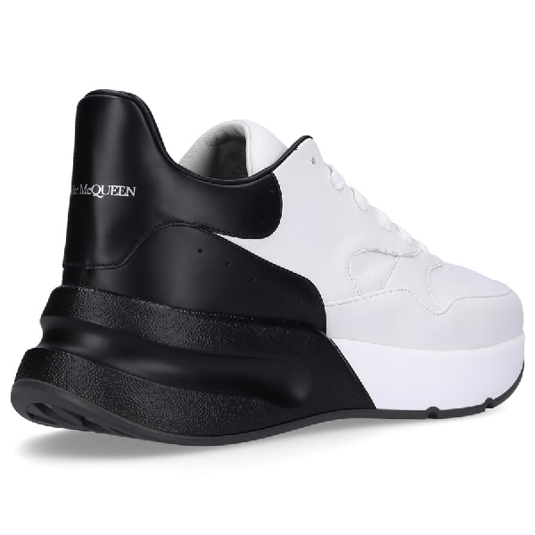 Alexander Mcqueen White And Black Leather Running Oversize Sneakers