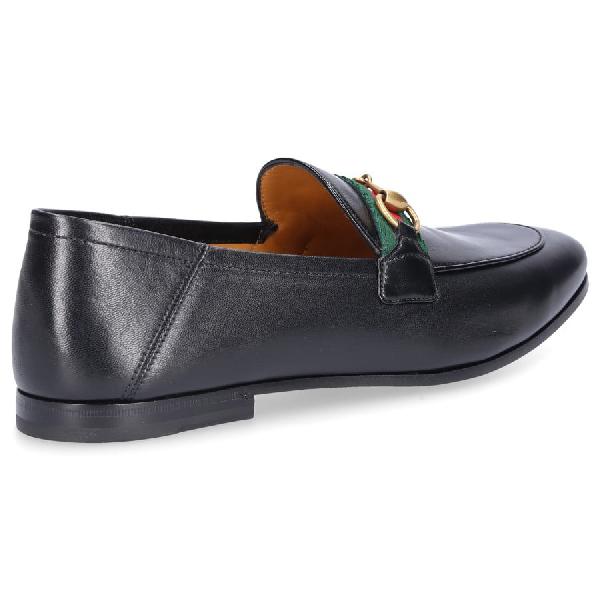 Gucci Bonny Horsebit Collapsible-Heel Webbing-Trimmed Full-Grain Leather Loafers In Black