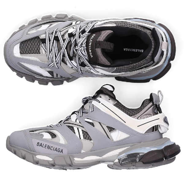 Balenciaga Track Leather, Mesh And Rubber Sneakers In Grey