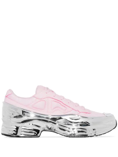 meet lowest discount limited guantity Adidas By Raf Simons X Raf Simons Pink And Silver Ozweego Sneakers
