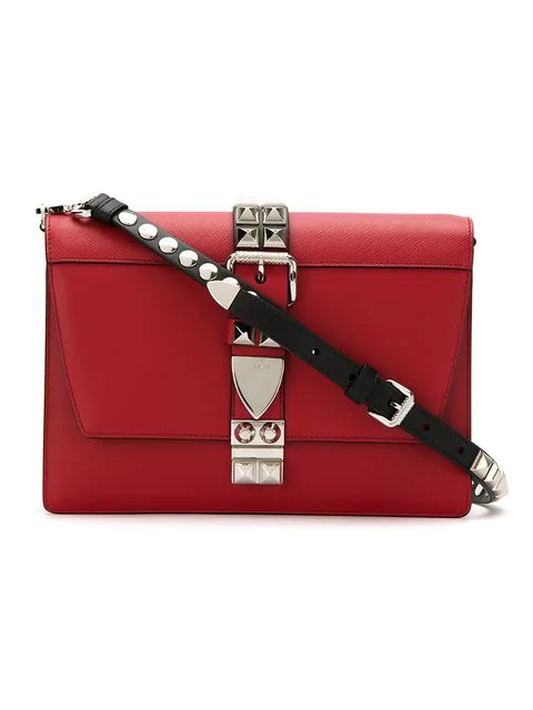 bcbbba67 Elektra Studded Leather Shoulder Bag in Red