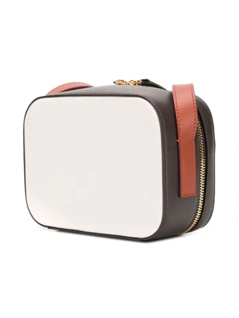 Marni Leather Crossbody Bag In Z2A21 White/Brown Cuoio