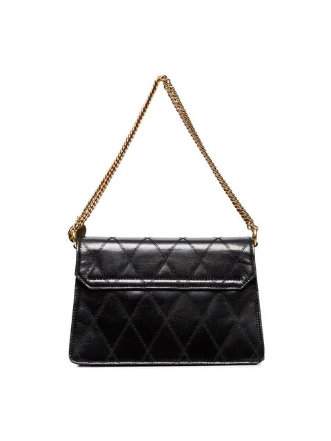 Givenchy Small Gv3 Diamond Quilted Leather Crossbody Bag In Black