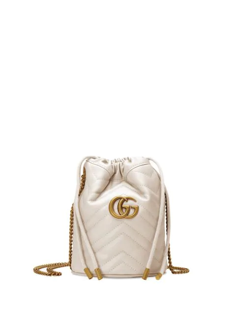 abadade322 Gucci Mini Gg Marmont Bucket Bag - White