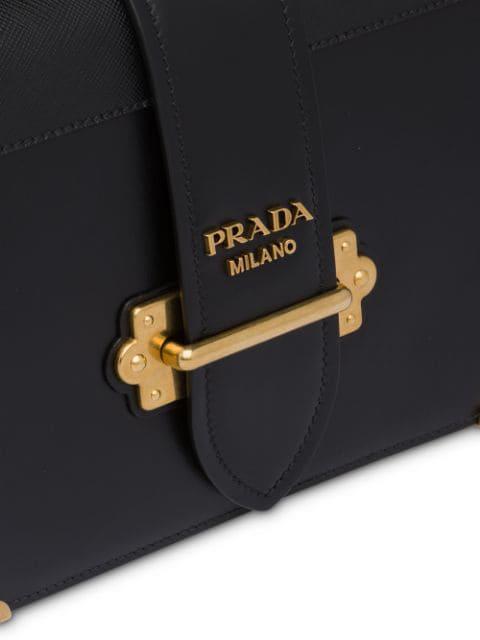 Prada Cahier Large Leather Shoulder Bag In Black