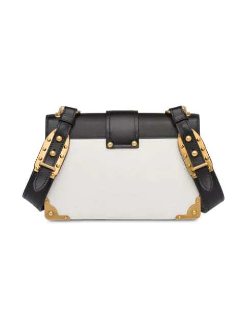Prada Cahier Large Two-Tone Leather Shoulder Bag In White
