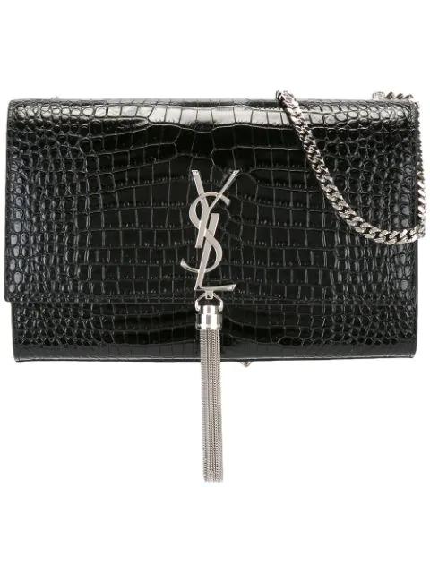 278bb19272b Saint Laurent Black Croc Medium Kate Tassel Chain Bag | ModeSens