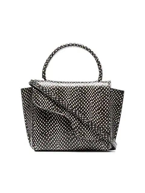 Atp Atelier Montalcino Snake-Effect Leather Cross-Body Bag In Black