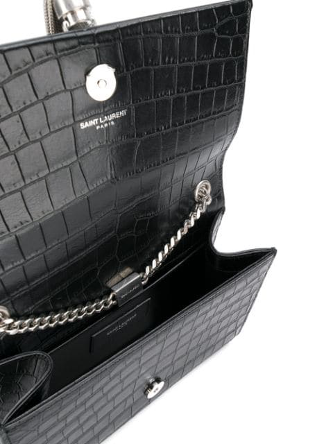 98249a6c5e Black Croc Medium Kate Tassel Chain Bag